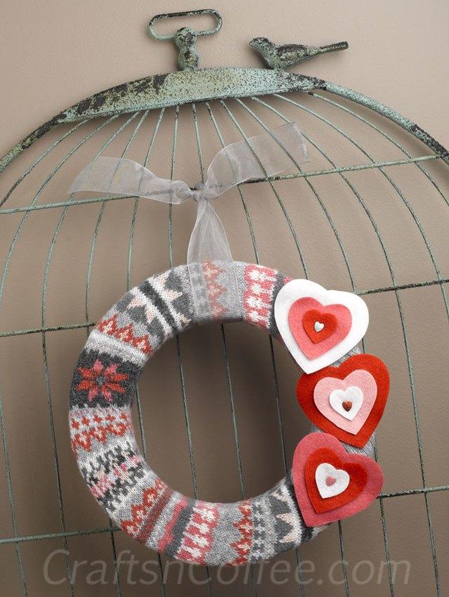 13 sweater wreath valentines day