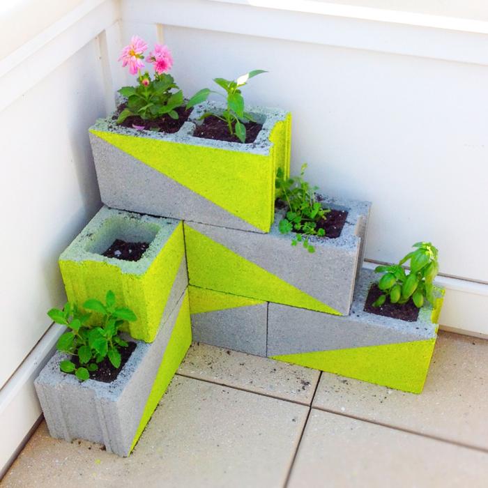 14 neon concrete block planter