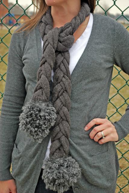 16 braided sweater scarf with pom poms