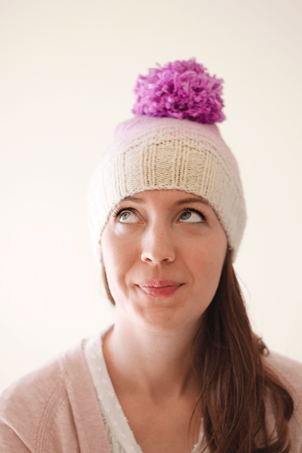 2 pom pom hat from old sweater