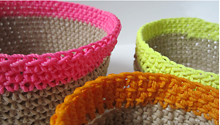 21 neon and natural baskets