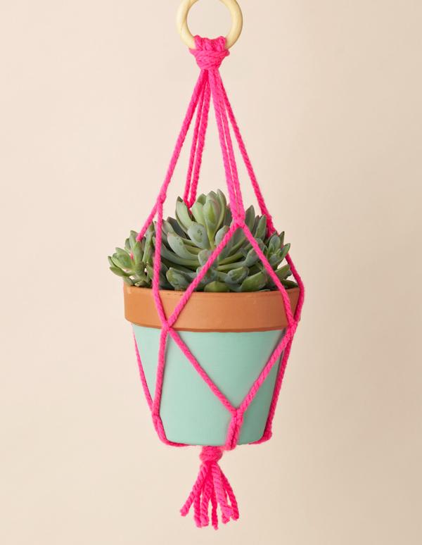 23 neon macrame hanging planter