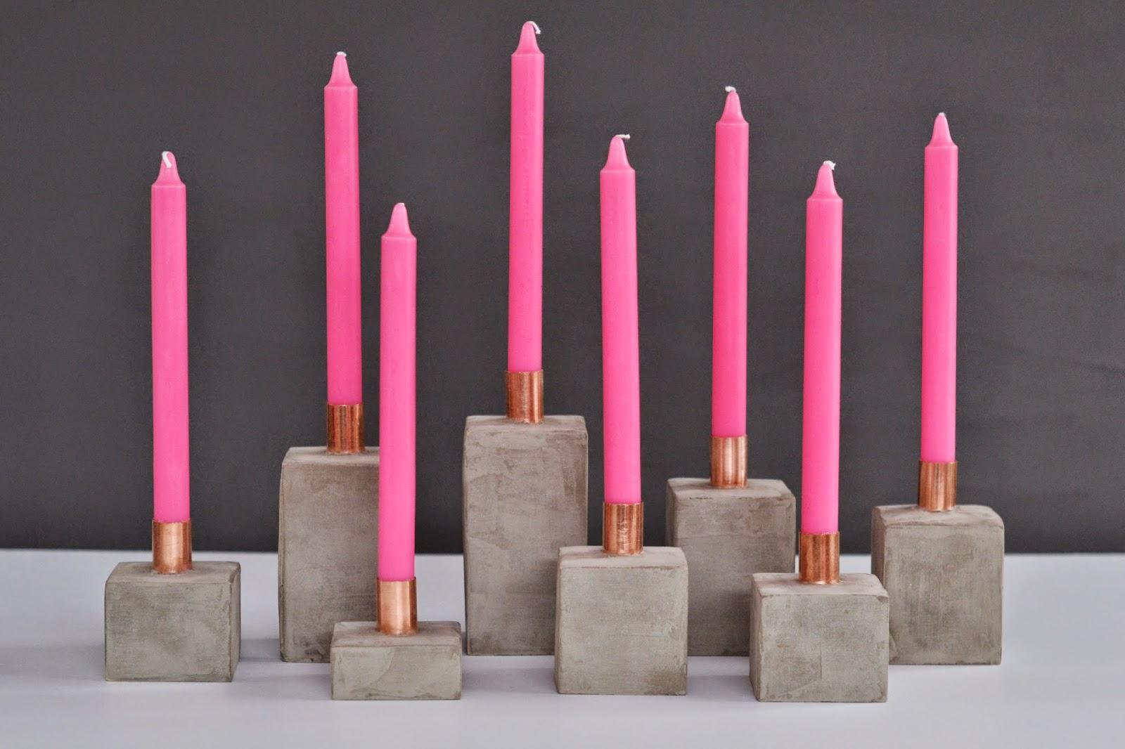27 concrete copper neon candle holders