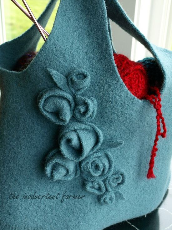 30 old sweater recycle knitting bag