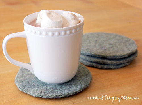 40 diy felted sweater coasters