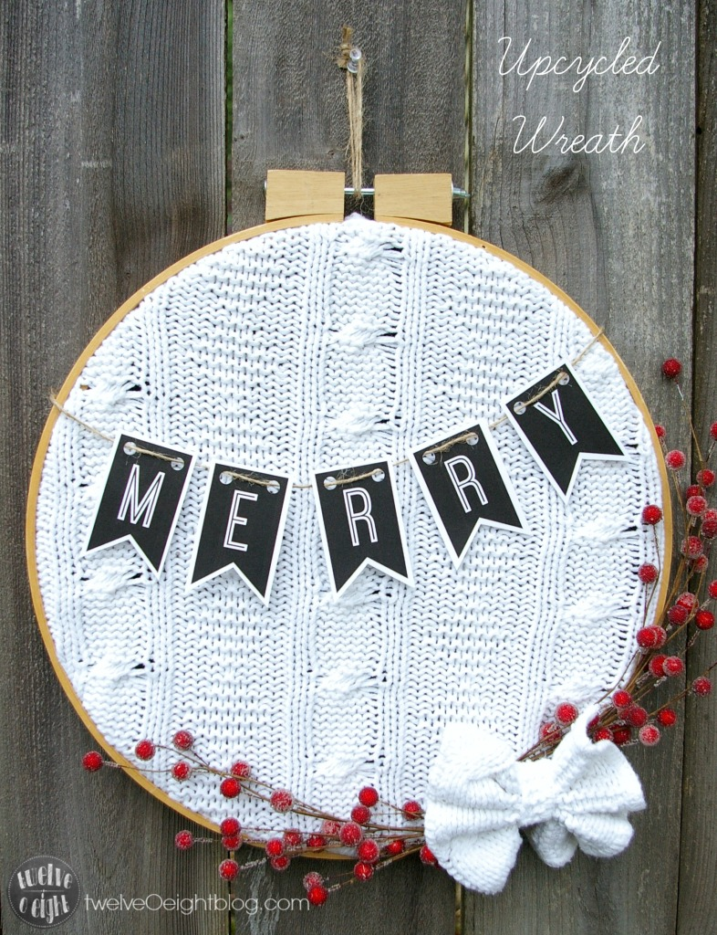 44 sweater embroidery hoop wreath