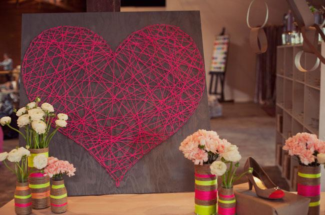 45 neon string art heart