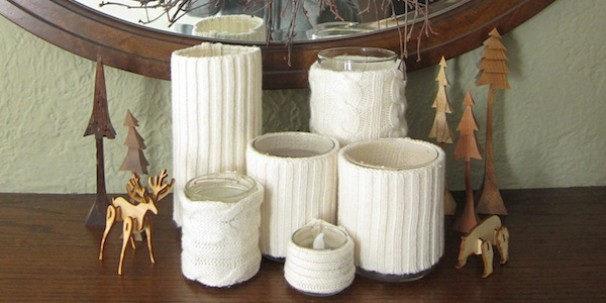 5 old cabled sweaters candles