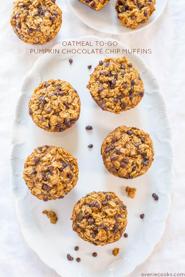 Chocolate Oatmeal Pumpkin Muffins