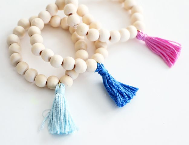 Colorful DIY Wooden Tassel Bracelet