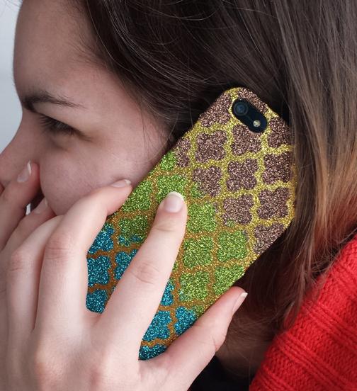 DIY Glitter Patterned Phone Case