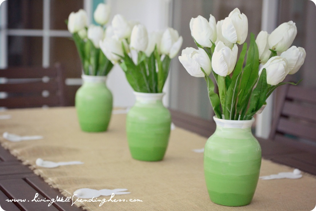 DIY Green Ombre Vases