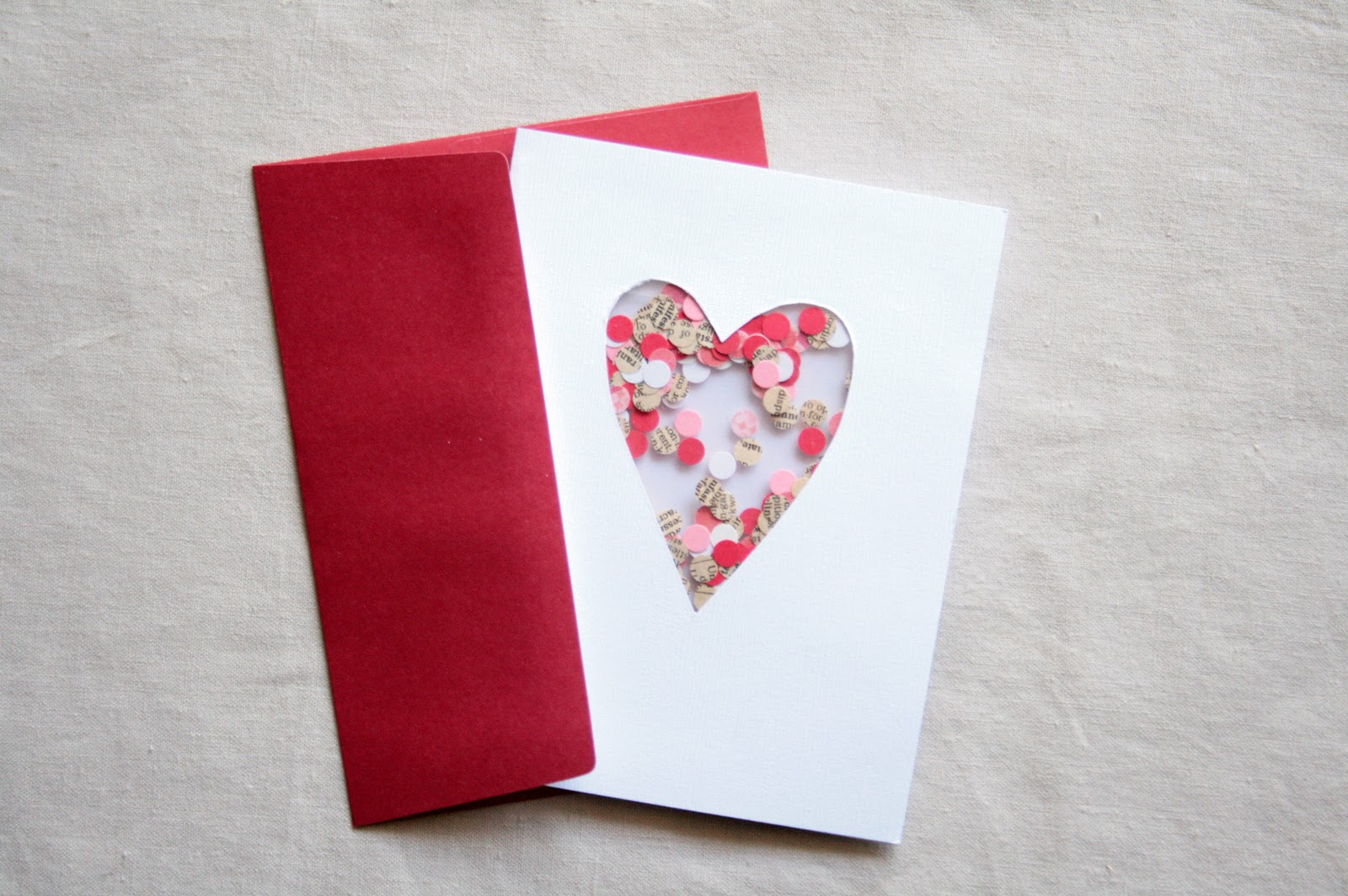 Out some handmade love with these 21 diy valentines day cards confetti hearts diy valentine confetti card kristyandbryce Choice Image