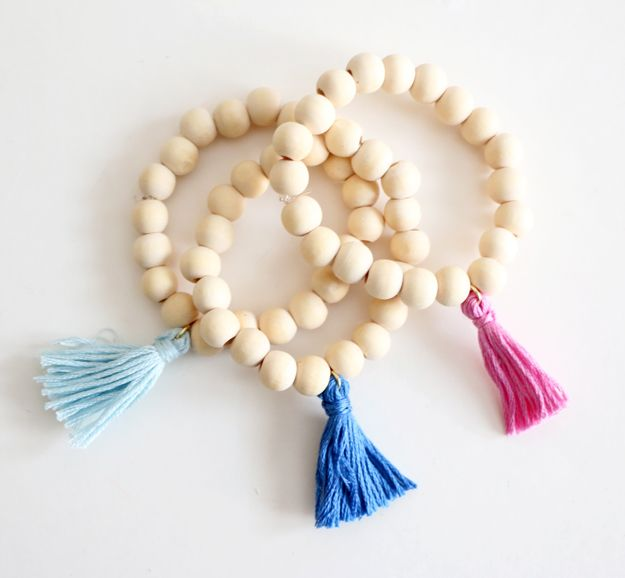 DIY Wooden Tassel Bracelet – diff colors