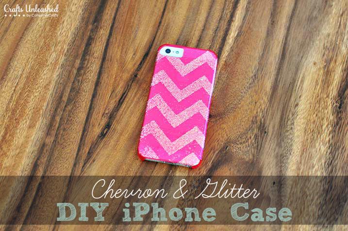 DIy Chevron Glitter Phone Case