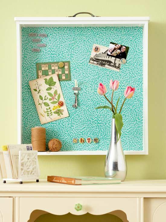 DIy Drawer Bulletin Board
