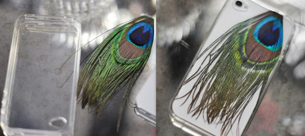 DIy Peacock Feather Phone Case
