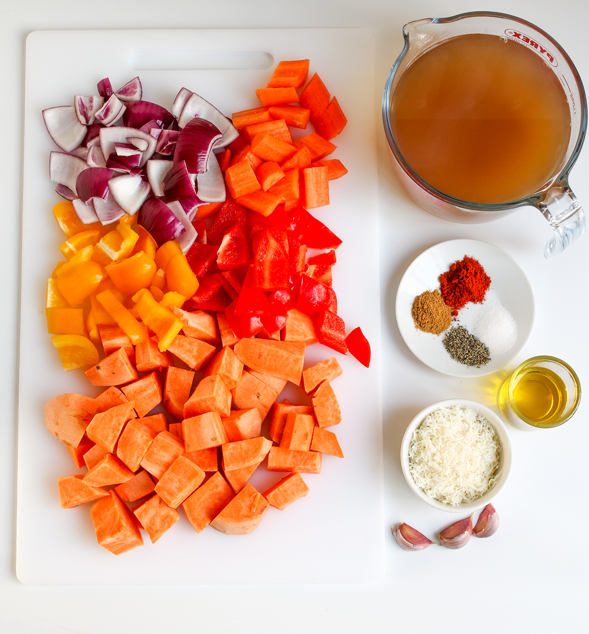 Roasted vegetable and Parmesan Soup Ingredients
