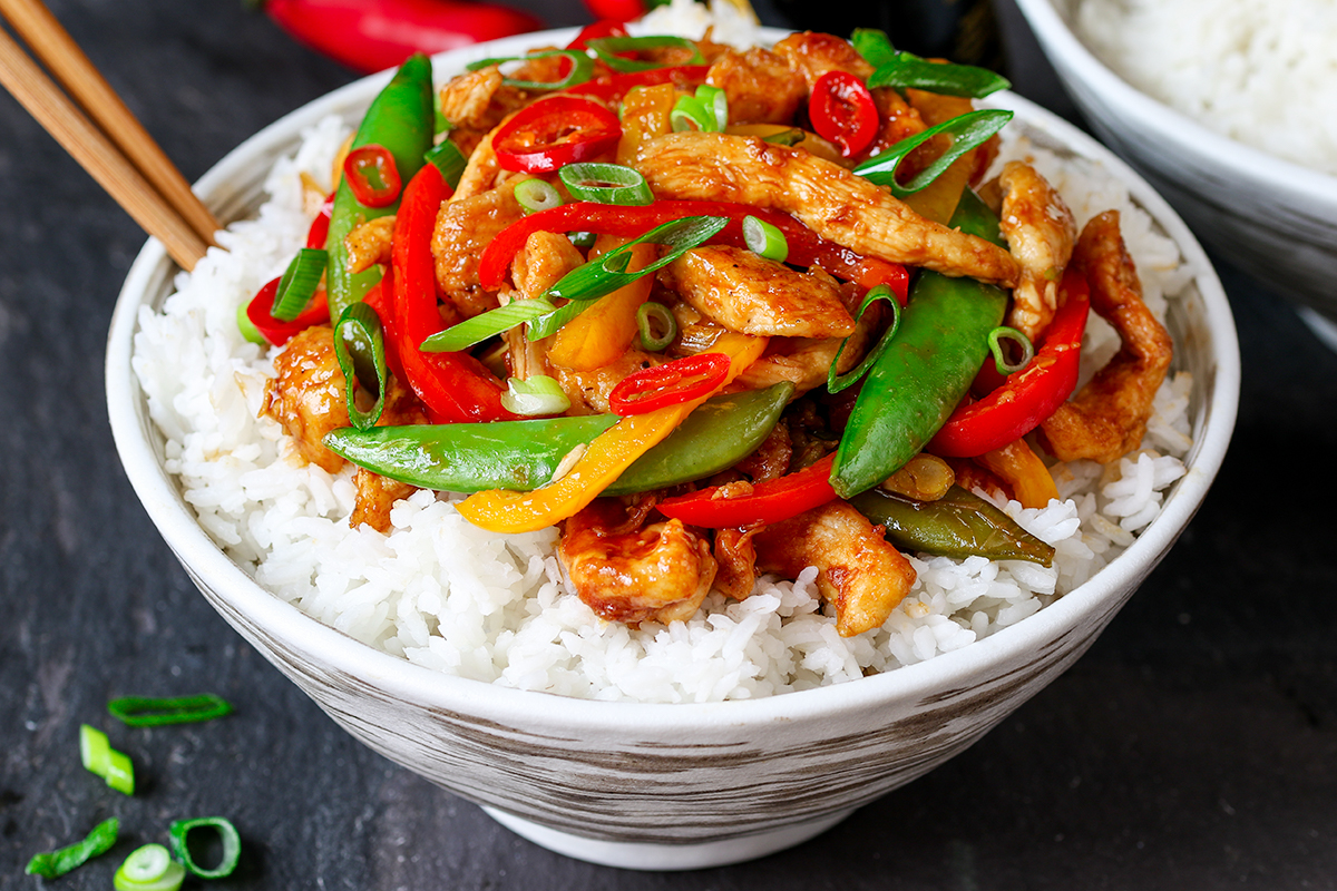 spicy chicken stir fry with vegetables