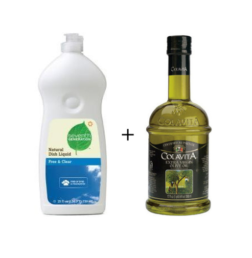 Ultimate Brush Cleaner - dish soap and olive oil