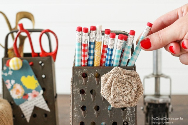 Vintage-Metal-Cheese-Graters-make-great-storage-for-office-and-craft-supplies.-via-livelaughrowe.com_