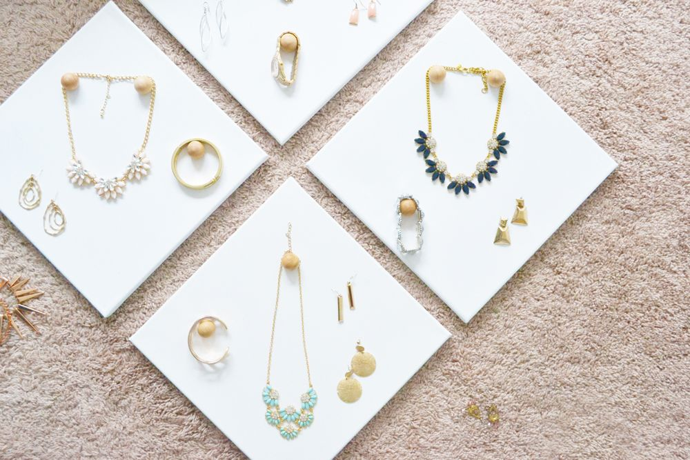 Wall DIY Jewelry Display Canvases Closer