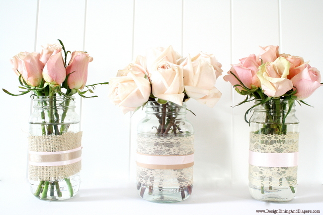 DIY lace vases