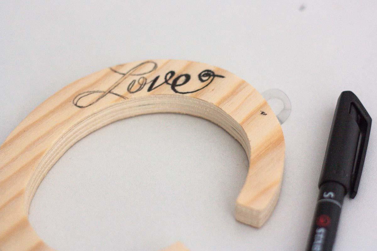 diy love letter wood sign handwritten pen