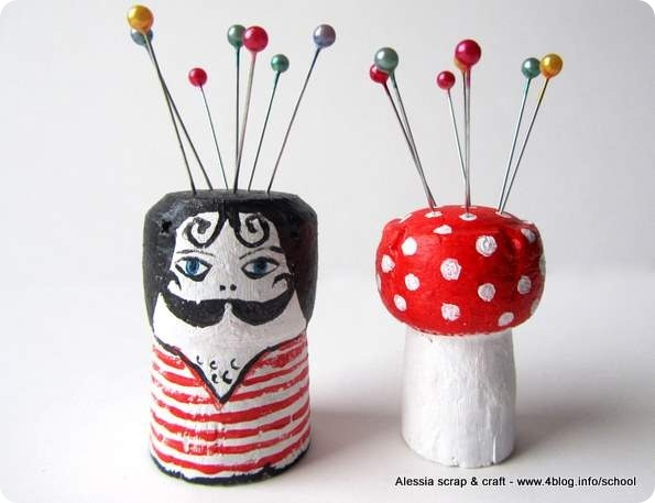 painted cork pin cushions