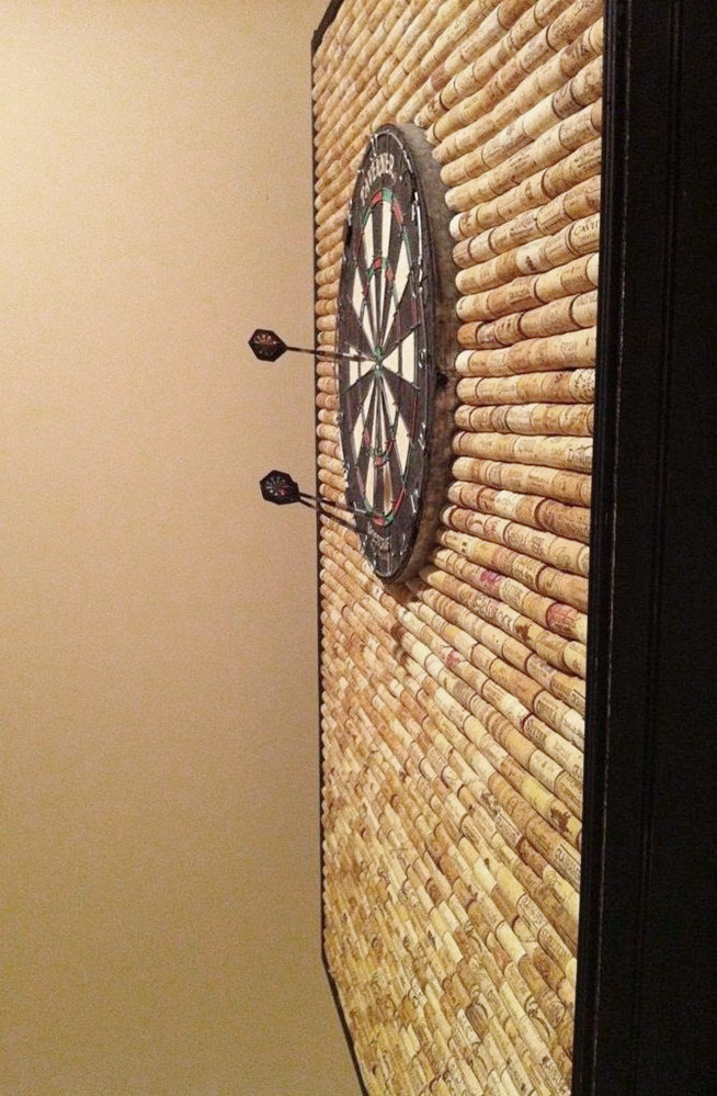 protect wall from stray darts with corks