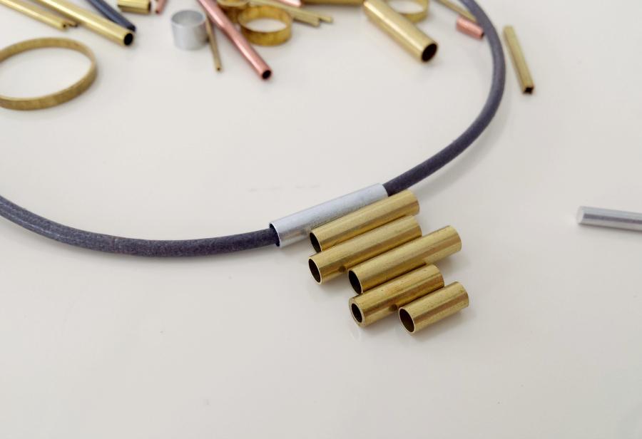 14 brass tube pendant necklace