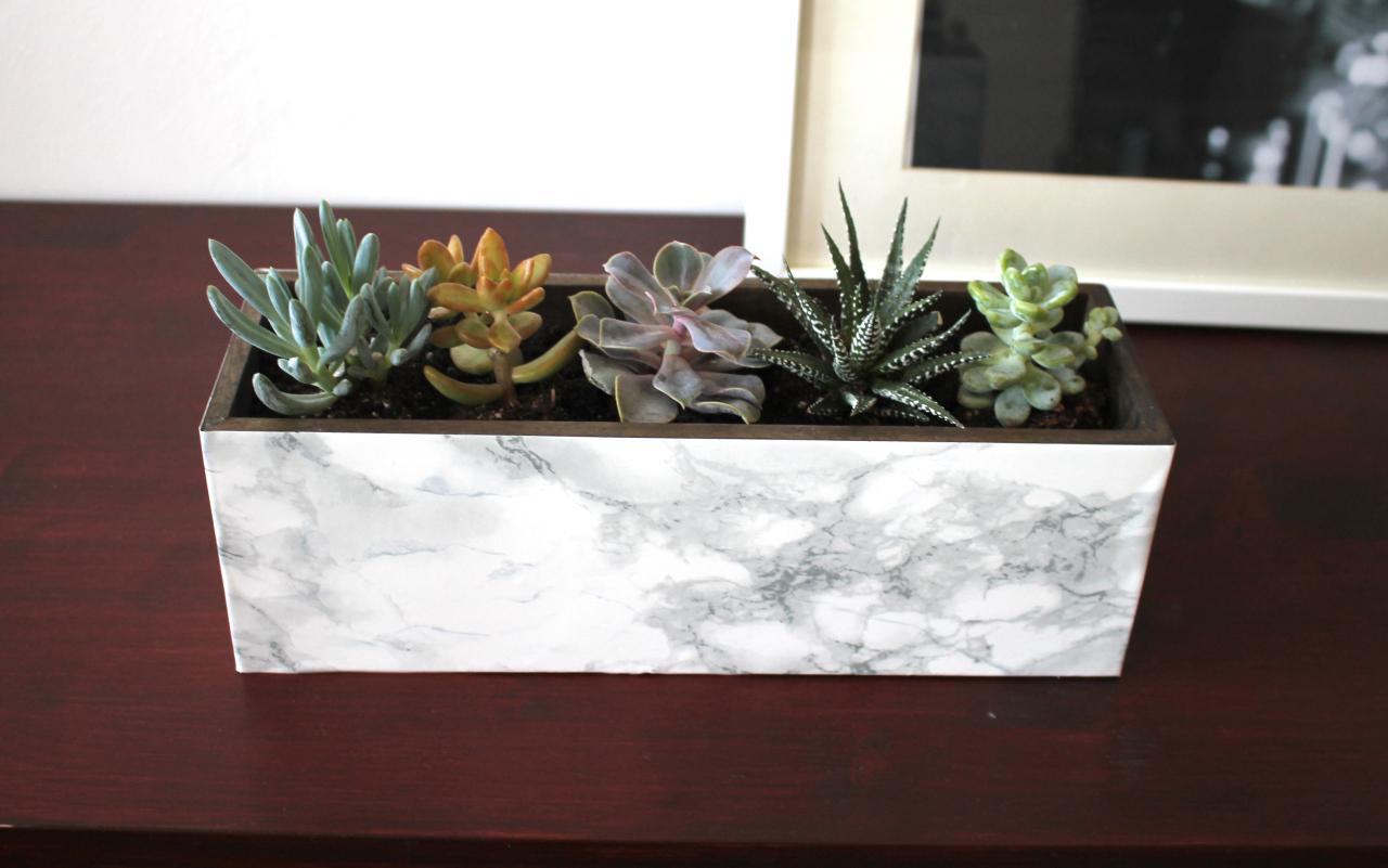 18 faux marble succulent planter