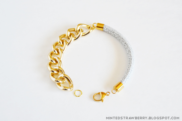 2 chunky leather gold chain bracelet