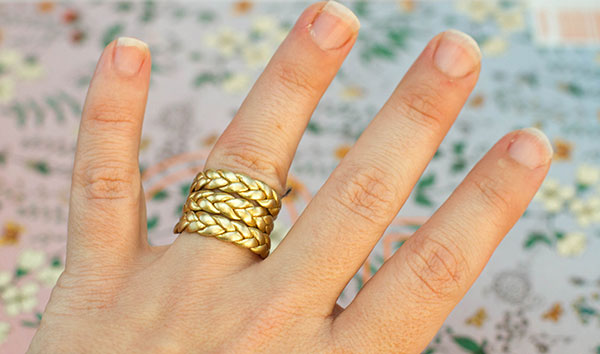 3 braided gold ring