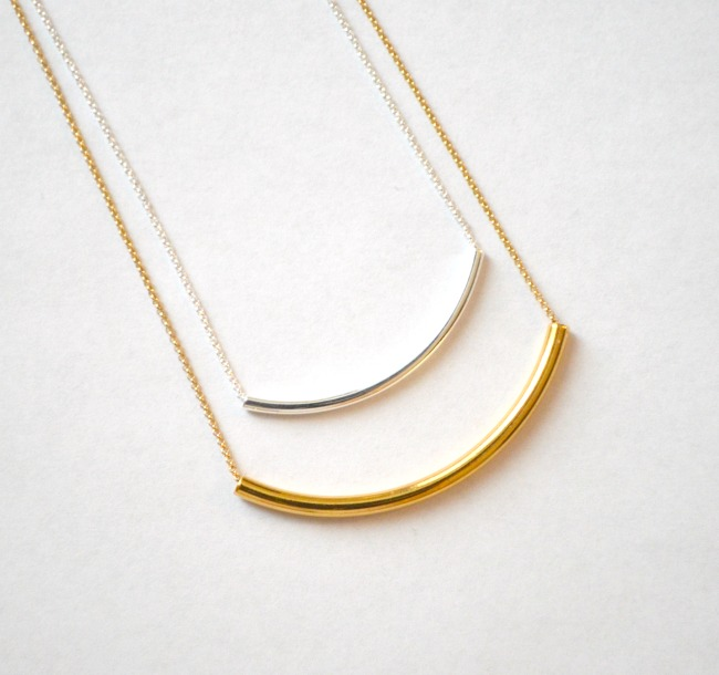 4 gold silver layering tube necklaces