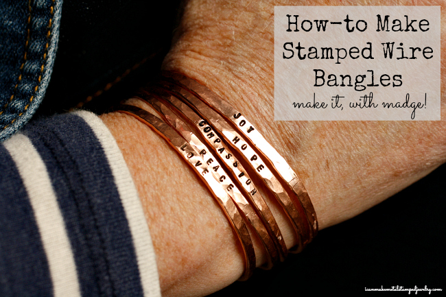 6 copper wire stamped bangles