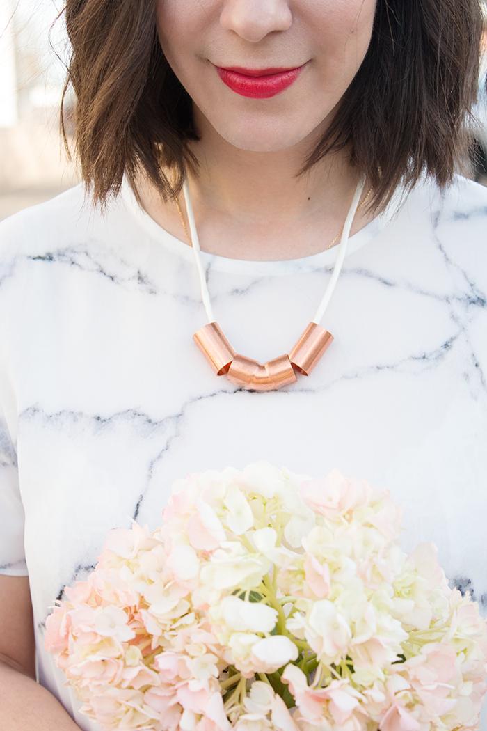 8 copper pipe necklace