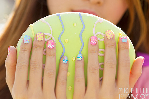 Bright easter egg nails