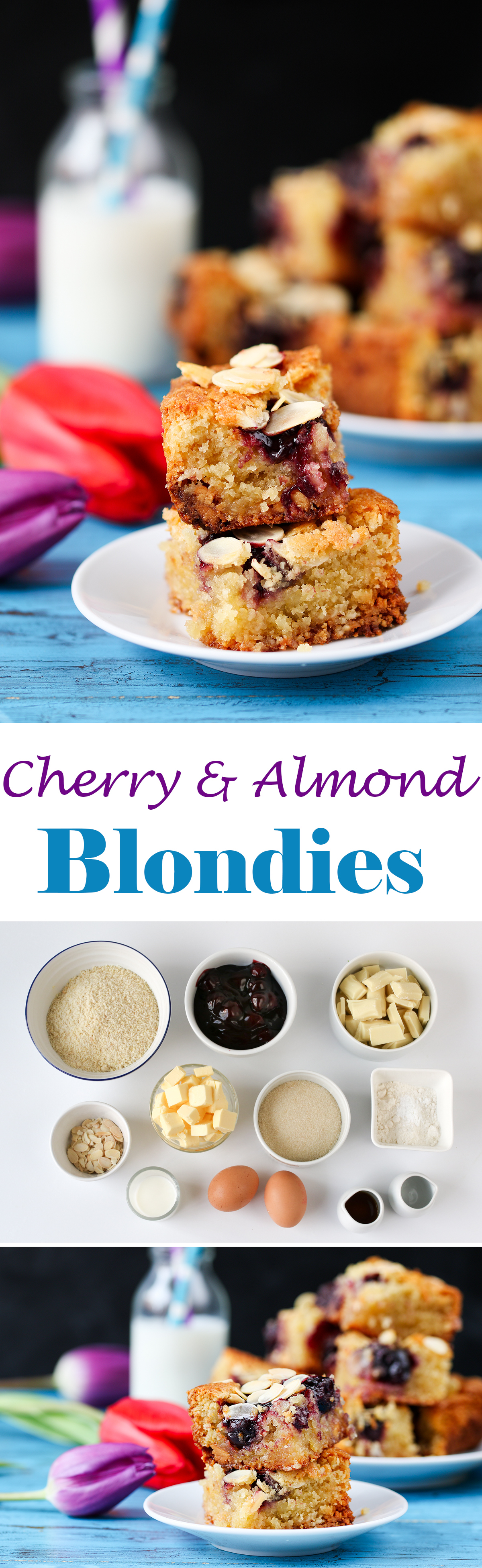Cherry and Almond Blondies