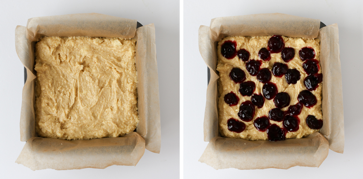 Cherry and Almond Blondies step 3 collage