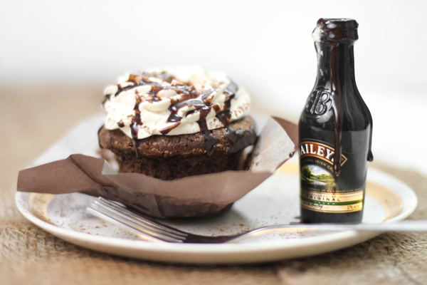 Chocolate & caramel irish cream cupcakes