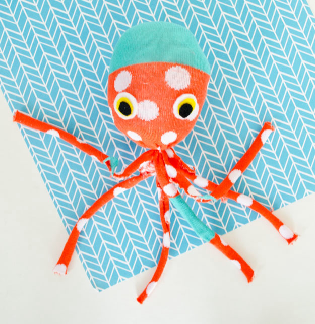 Colorful diy sock octopus plush