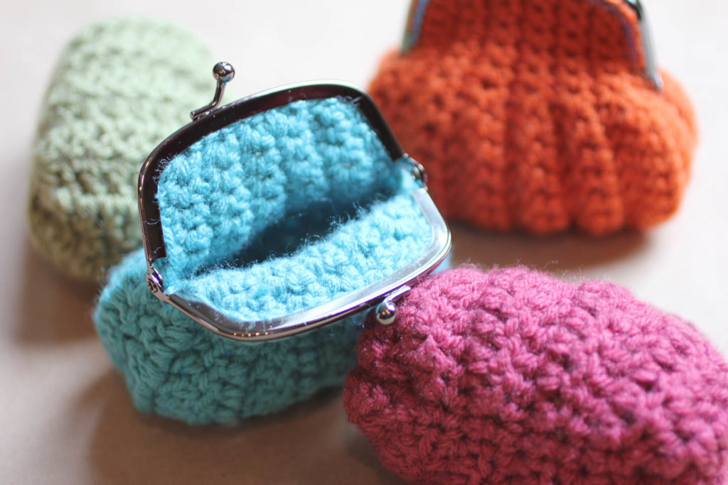 Coloured crochet purse