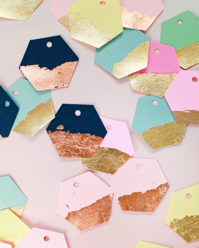 Diy gold copper leaf hexagon gift tags fiskars osbp 1