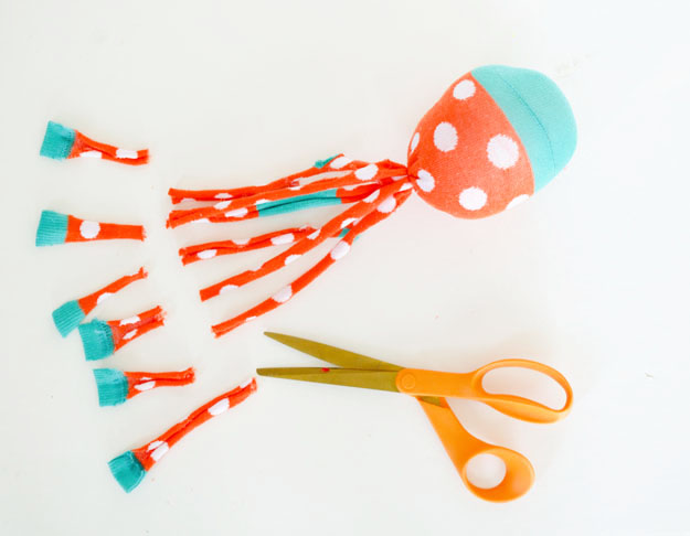 Diy sock octopus plush cut
