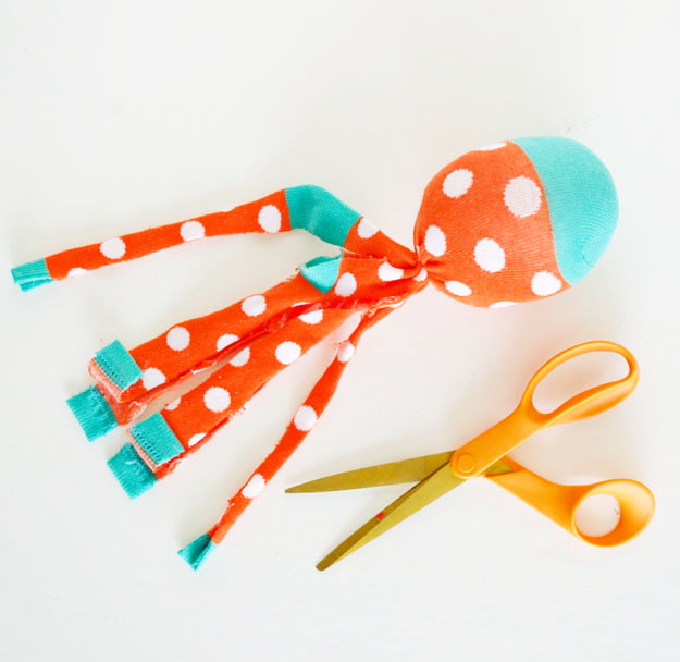 Diy sock octopus plush strips