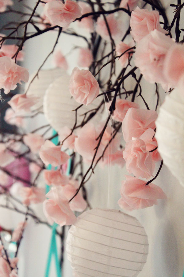 Flowered paper lanterns