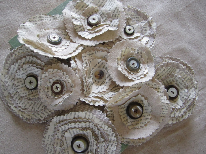 Linen and book page flowers