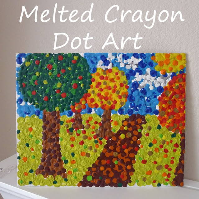 Melted crayong dot art