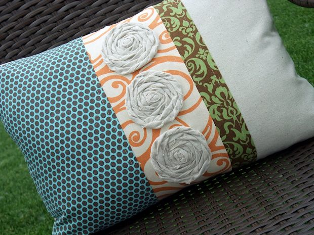 Multi fabric throw pillow